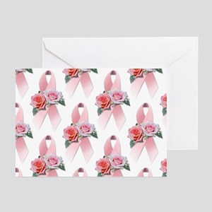 Breast Cancer Ribbon & Roses Greeting Cards (Packa