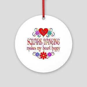Square Dancing Heart Happy Round Ornament