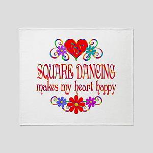 Square Dancing Heart Happy Throw Blanket