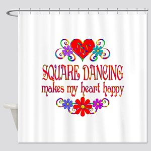 Square Dancing Heart Happy Shower Curtain