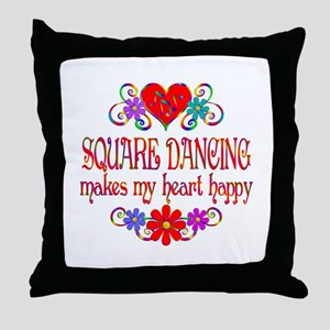 Square Dancing Heart Happy Throw Pillow