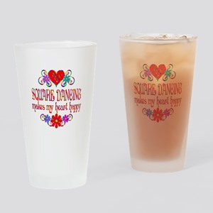 Square Dancing Heart Happy Drinking Glass