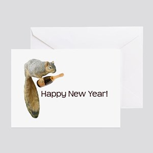 Happy New Year Squirrel Greeting Cards (Pk of 20)
