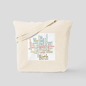 Birth Wordle Tote Bag