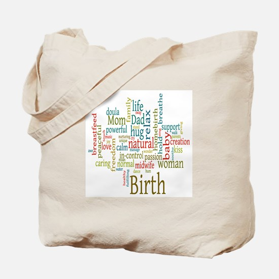 Birth Wordle Tote Bag