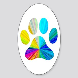Paw Print Oval Sticker