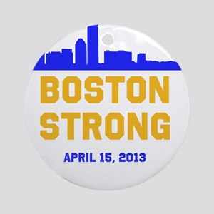 Boston Strong Blue and Gold Skyline Round Ornament