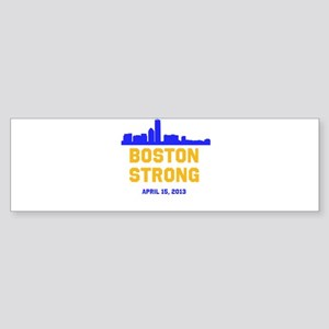 Boston Strong Blue and Gold Skyline Bumper Sticker