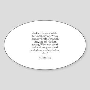 GENESIS 32:17 Oval Sticker
