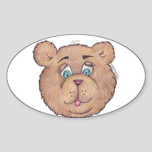 Fuzzy Bear Oval Sticker