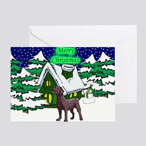 Country Chocolate Lab Christmas Greeting Card