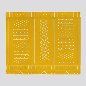 African Pattern In Yellow Gold Throw Blanket