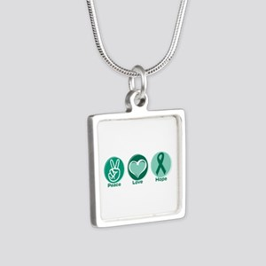 Peace Love Gr Hope Silver Square Necklaces
