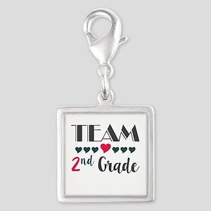 Team 2nd Grade Teacher Shirts Silver Square Charm