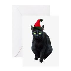 Black Cat Santa Greeting Card