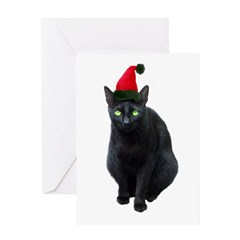Black Cat Santa Greeting Card