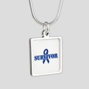 Blue Ribbon Survivor Silver Square Necklace