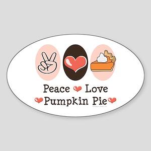 Peace Love Pumpkin Pie Oval Sticker