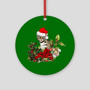 Christmas Kitty Round Ornament