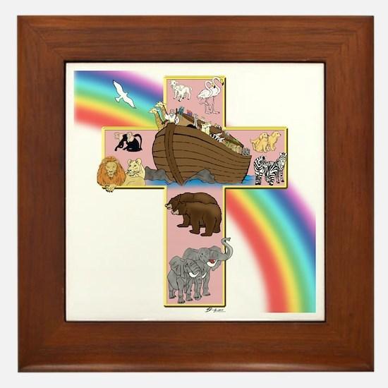 Pink Noah's Cross Framed Tile