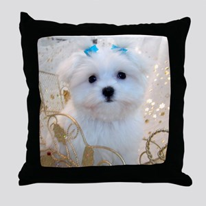 Maltese Blue Bows Throw Pillow