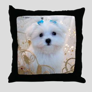 Maltese Blue Bows Throw Pillow