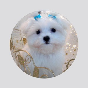 Maltese Blue Bows Ornament (Round)
