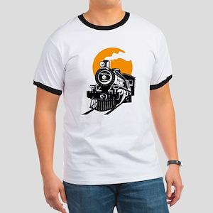 Steam Locomotive Train T-Shirt Ringer T
