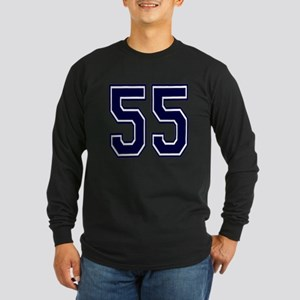 NUMBER 55 FRONT Long Sleeve Dark T-Shirt
