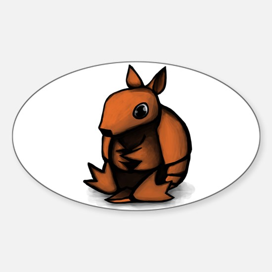 Sitting Armadillo Oval Decal