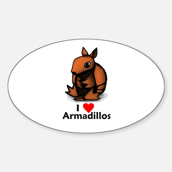 I Love Armadillos Oval Decal