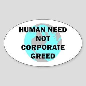 HUMAN NEED Oval Sticker