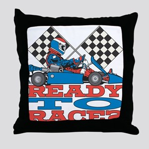 Ready to Race Go Kart Throw Pillow