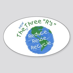 Reduce. Reuse. Recycle. Oval Sticker