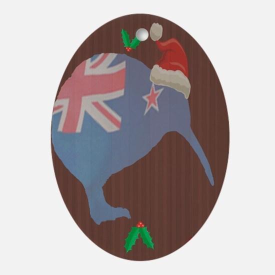 Christmas Kiwi Oval Ornament
