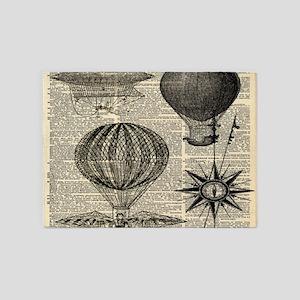 steampunk plane hot air balloon 5'x7'Area Rug