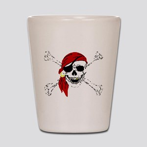 Pirate Skull and Bones, Red Bandanna Shot Glass