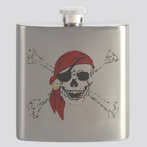Pirate Skull and Bones, Red Bandanna Flask