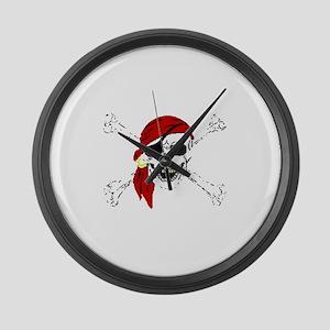 Pirate Skull and Bones, Red Banda Large Wall Clock