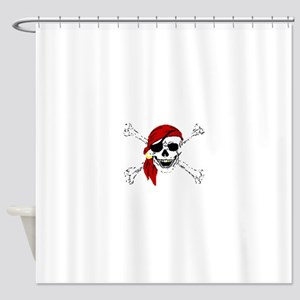 Pirate Skull and Bones, Red Bandann Shower Curtain