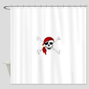 Pirate Skull and Bones, Red Bandann Shower Curtain