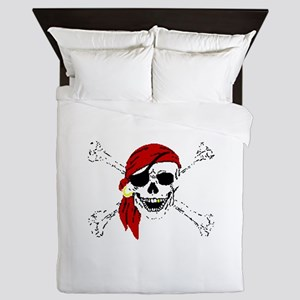 Pirate Skull and Bones, Red Bandanna Queen Duvet