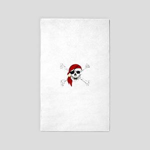 Pirate Skull and Bones, Red Bandanna Area Rug