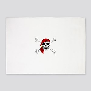 Pirate Skull and Bones, Red Bandann 5'x7'Area Rug