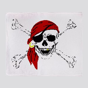 Pirate Skull and Bones, Red Bandanna Throw Blanket