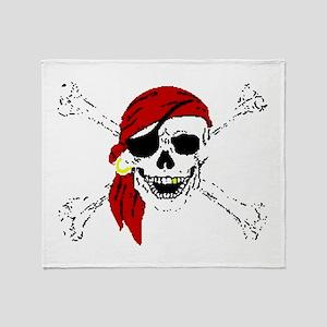 Pirate Skull and Bones, Red Bandanna Throw Blanket