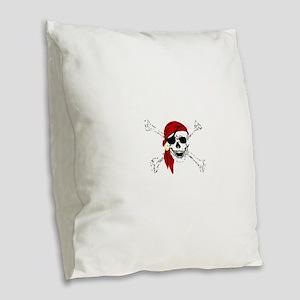 Pirate Skull and Bones, Red Ba Burlap Throw Pillow