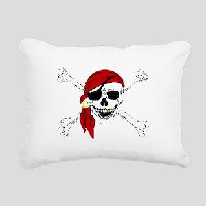 Pirate Skull and Bones, Rectangular Canvas Pillow