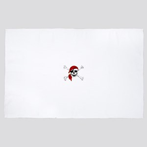 Pirate Skull and Bones, Red Bandanna 4' x 6' Rug