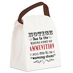 No Warning Shots Canvas Lunch Bag